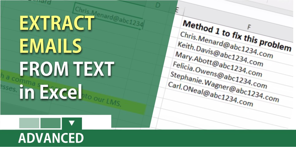 Extract email addresses from a text string in Excel