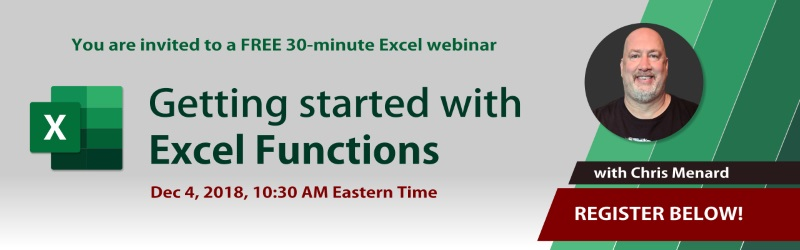 Webinar on Excel Functions on 12/04/2018