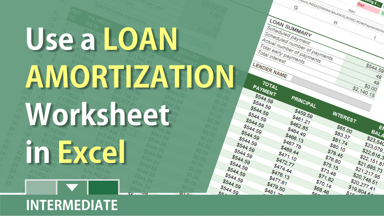 Excel Loan Amortization for new car, new house, or refinance