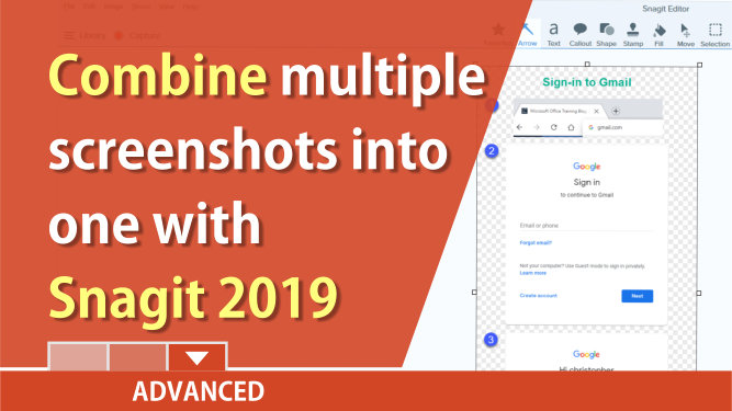 Snagit: Combine multiple images into one screenshot