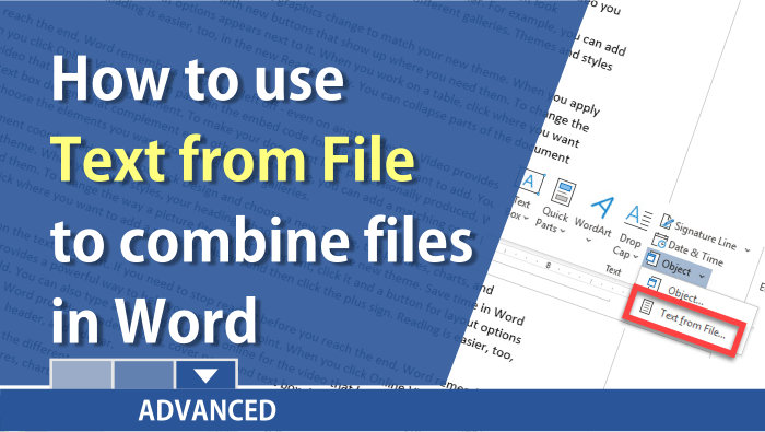 Word: use Insert Text from File to combine multiple Word documents