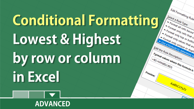 Find the lowest / highest values for rows or columns with conditional formatting in Excel