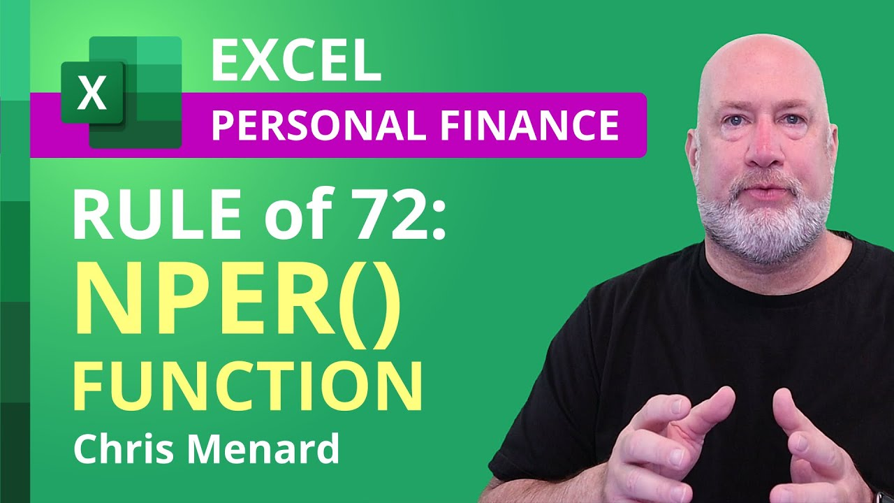 The Rule of 72 explained using Excel and the NPER Function