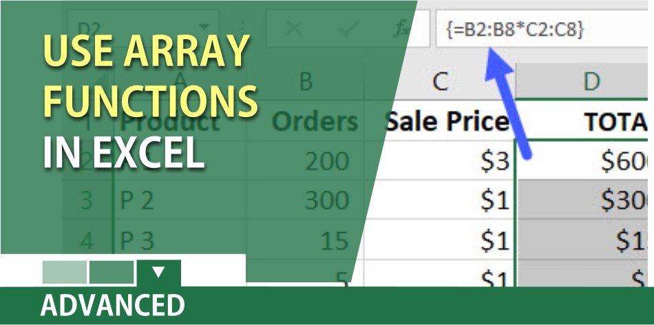Use array functions in Excel to perform multiple calculations in one cell
