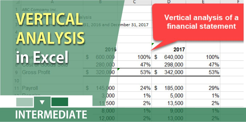 Vertical analysis of an Income Statement in Excel