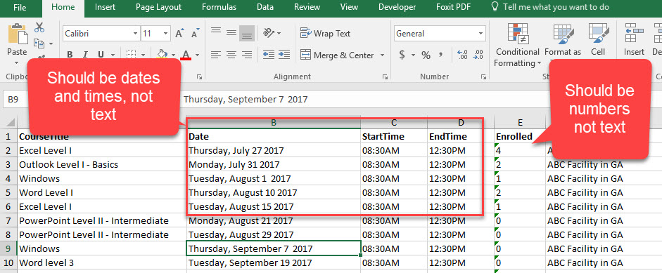 Correct data imported into Excel from a database