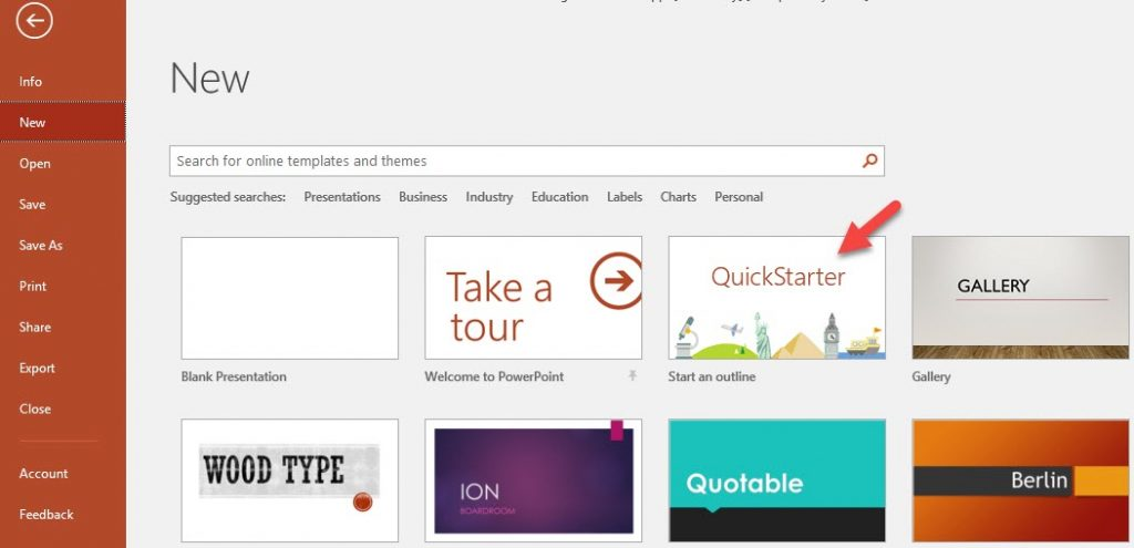 Use Quickstarter to set up a great presentation in PowerPoint quickly