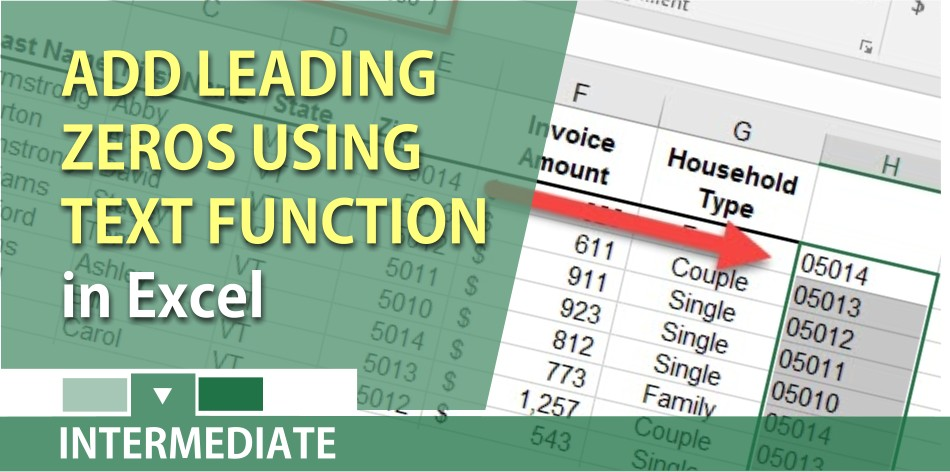 Use the text function in Excel to add leading zeros