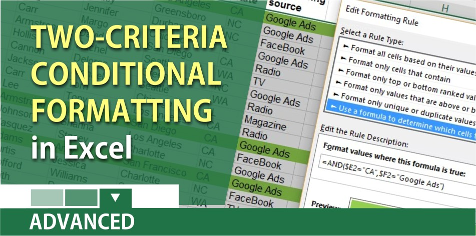 Conditional Formatting with two criteria using AND function in Excel