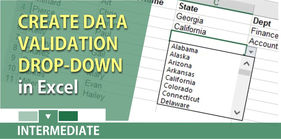 Create a data validation drop down list in Excel by Chris Menard