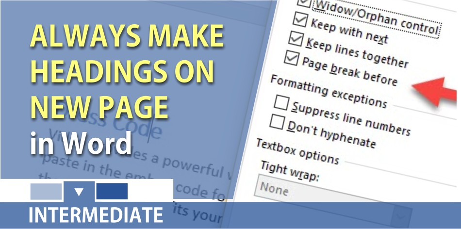 Word - make headings 1 always show on a new page using Page break before setting