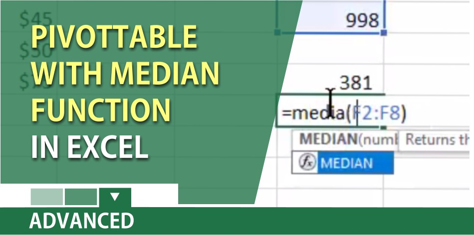 Excel: PivotTable with the median function