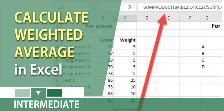 How to calculate the weighted average in Excel