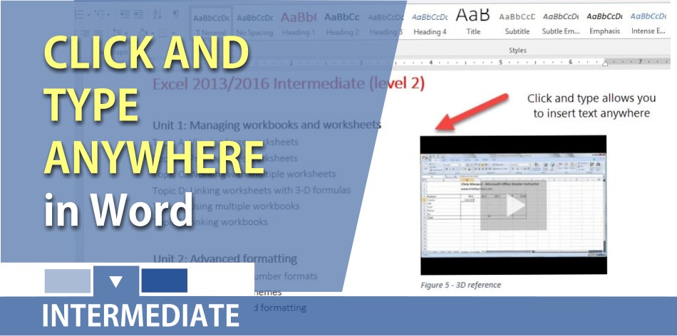 Click and type anywhere in Microsoft Word