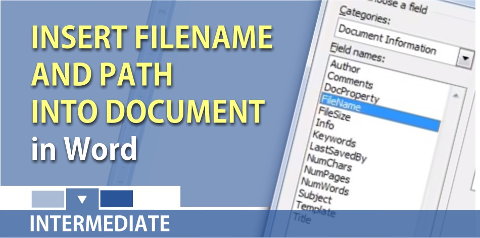 Add the filename and path to a Word document