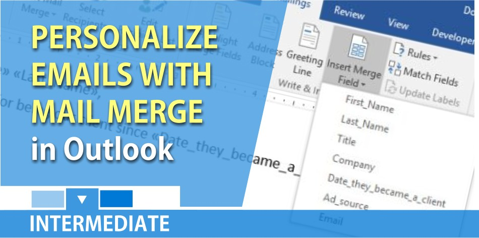 Outlook mail merge - personalize email messages