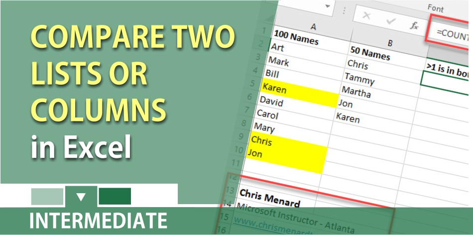 Compare two lists or columns in Microsoft Excel