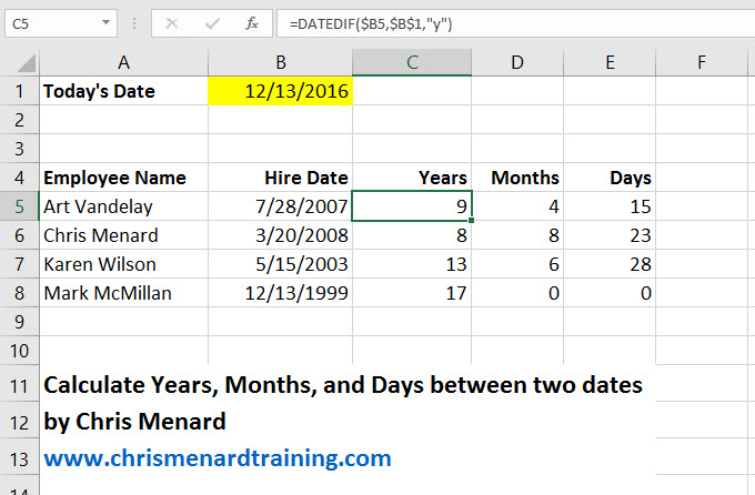 Datedif function in Microsoft Excel