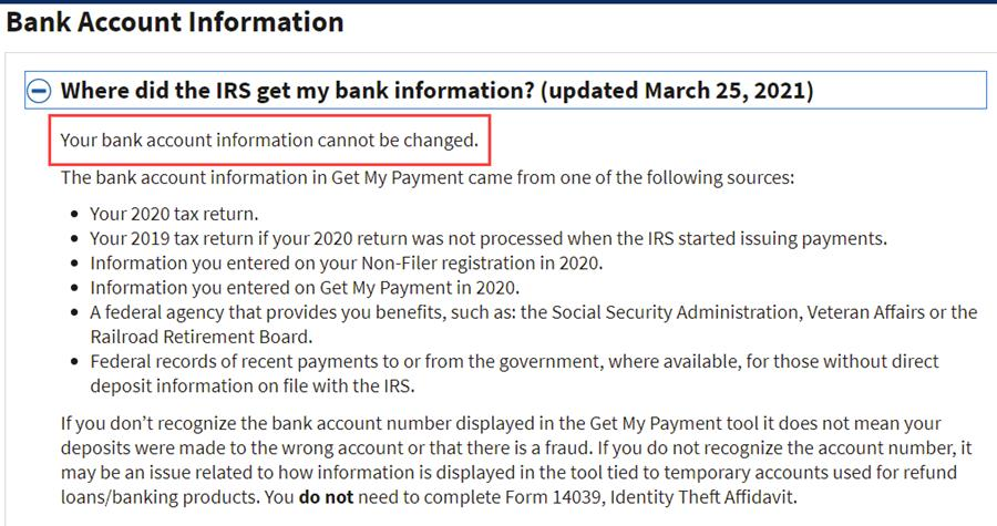 IRS website info about bank account information