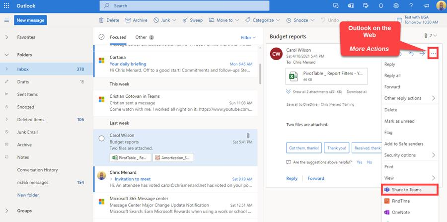 Share to Teams - Outlook on the web