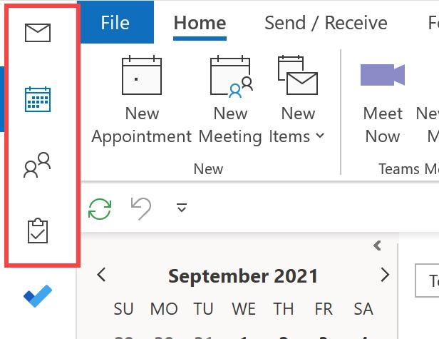 CTRL keys in Outlook to use Navigation icons