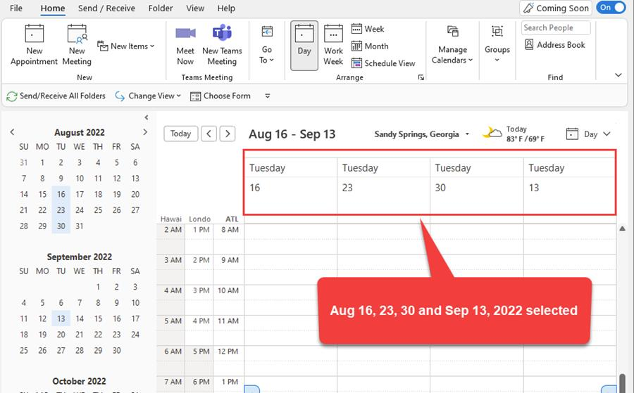 Ctrl to select individual dates in Outlook