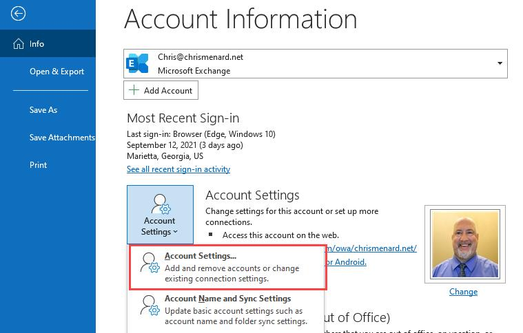 Access Account Settings in Outlook