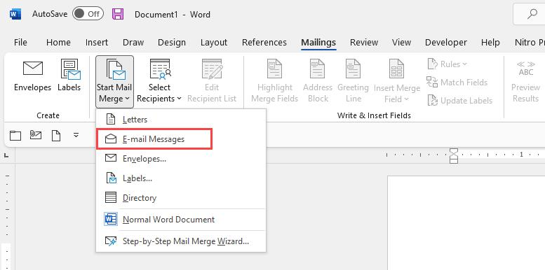Start a new E-mail Messages Mail Merge in Microsoft Word