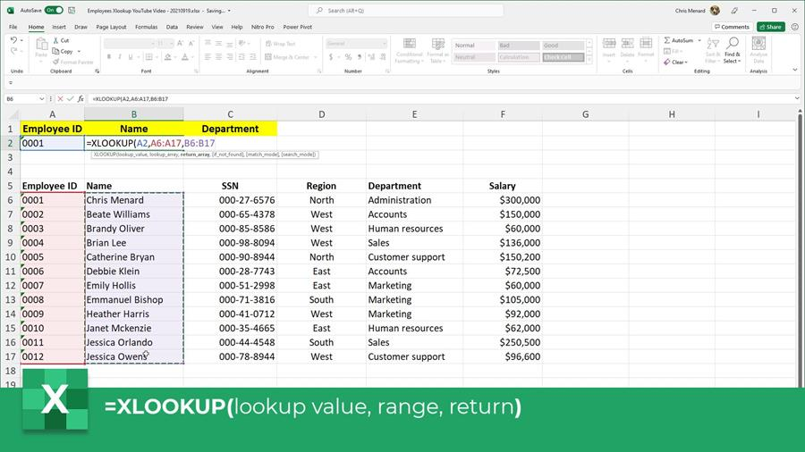 Example selecting the values for the XLOOKUP function in Excel