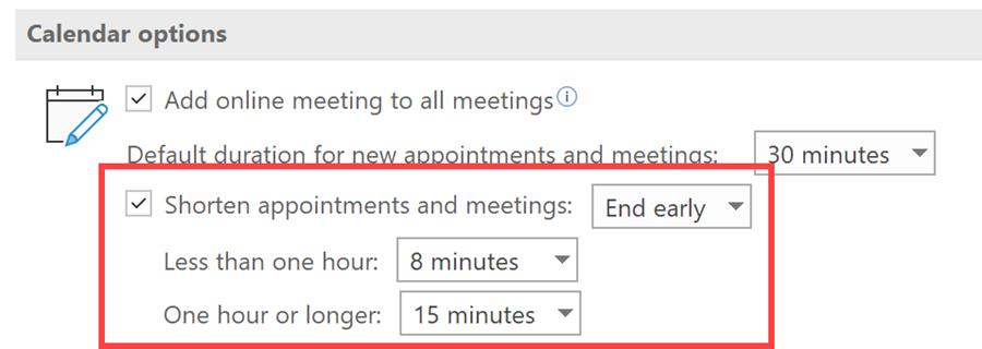 Outlook End Meeting Early or Start Late