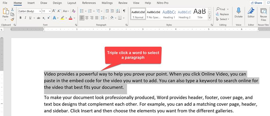 Word - triple click a word to select a paragraph