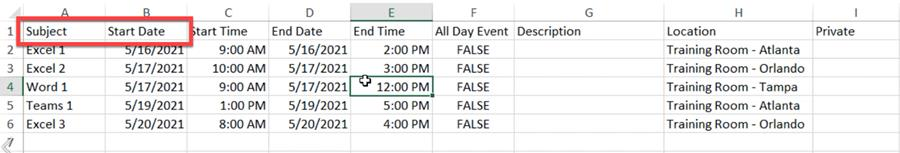 Example of Excel file with required fields for import into Google Calendar