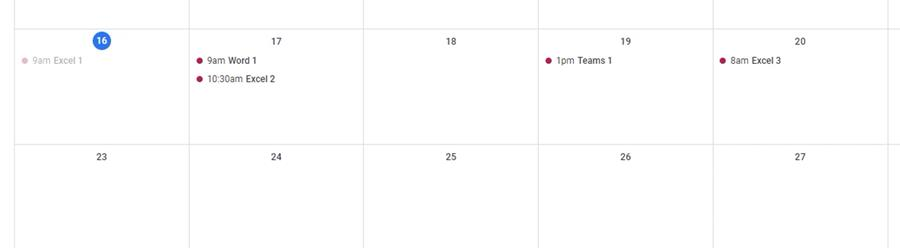 I get my events successfully imported into Google Calendar test
