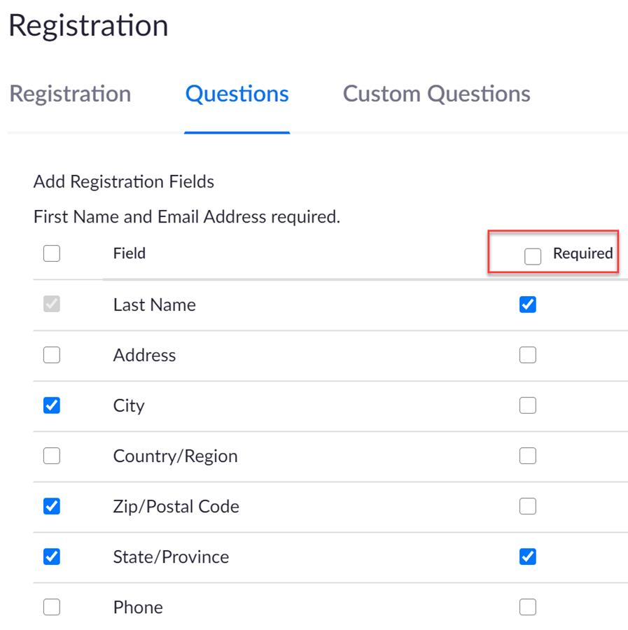 Zoom Registration - required questions and other questions you can ask