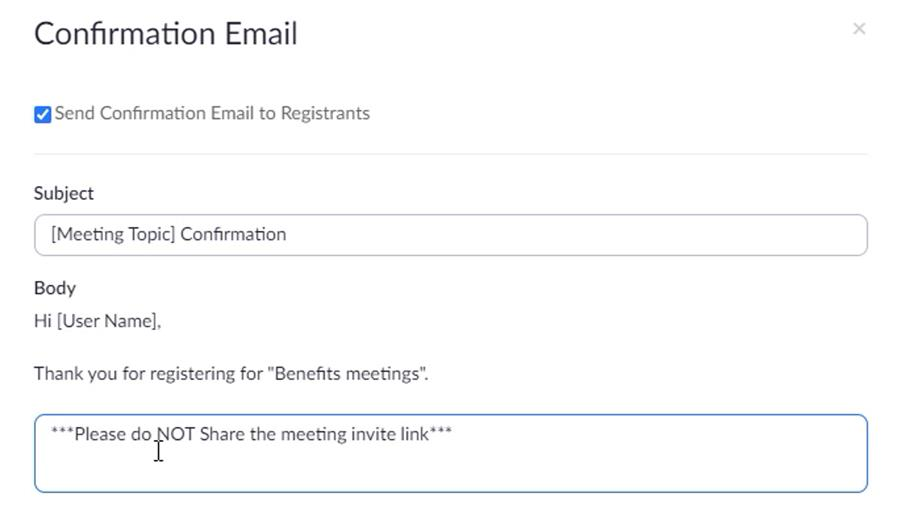 Adding custom text to the Zoom Registration Confirmation Email