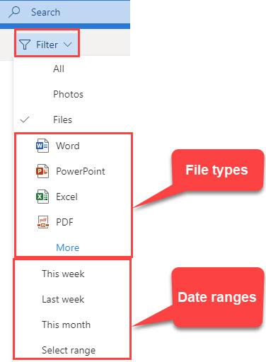 File view - Filter by file type and date ranges in Outlook on the web