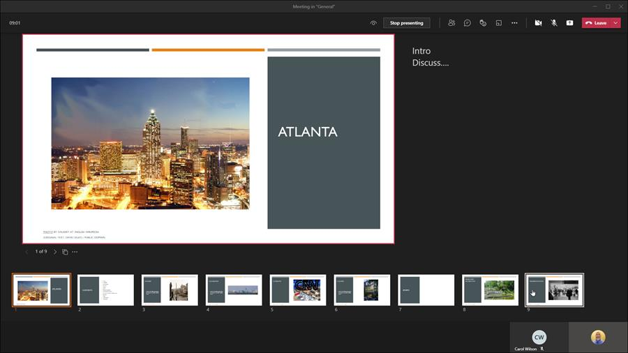 PowerPoint speaker notes in a Teams Meeting are now shown by default in the Presenter View