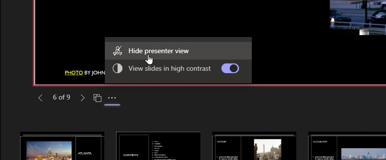 Hide or show the presenter view that also hides your speaker's notes