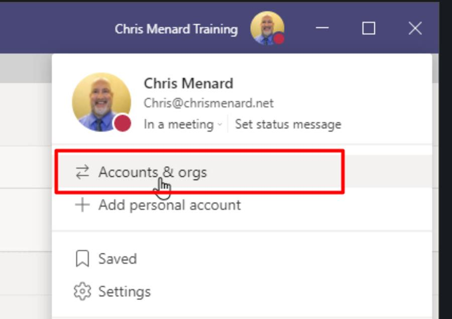 Accounts and organizations in Teams has been moved under the profile menu