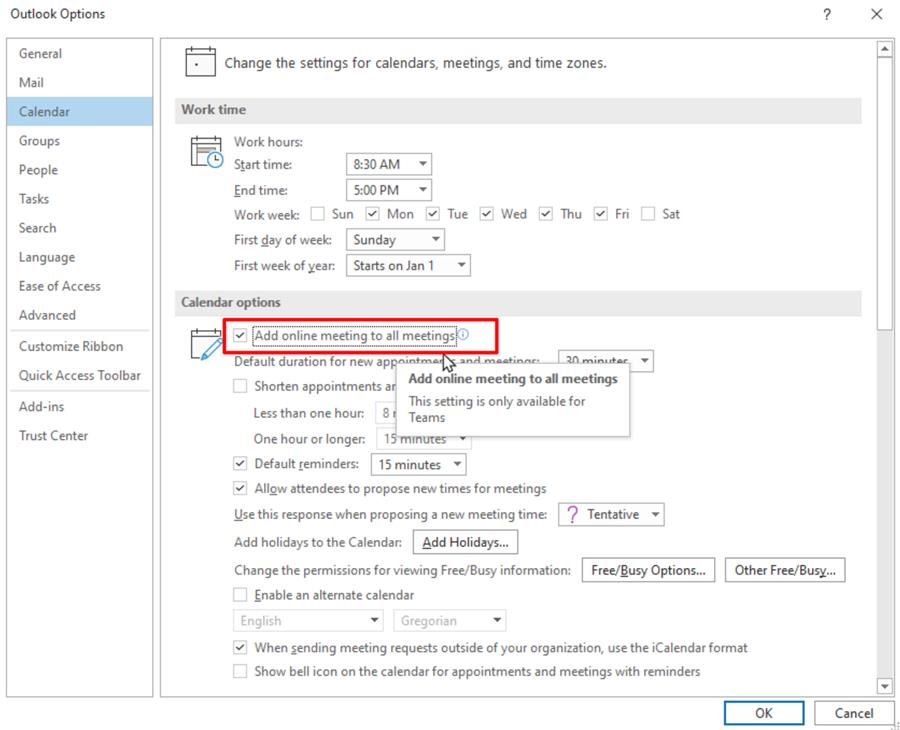 Outlook Calendar option to Add online meting to all meetings