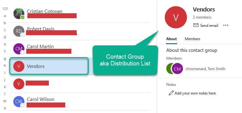 Contact Group - formerly called Distribution List in Outlook
