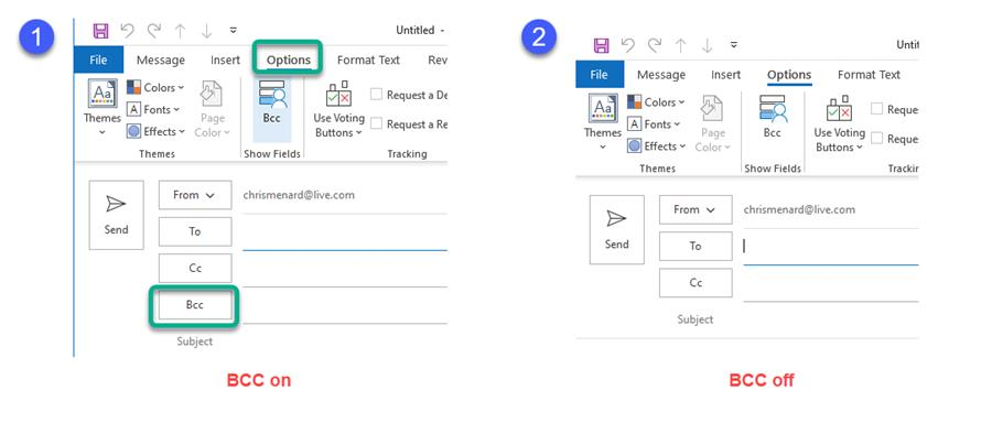 Turn on BCC in Outlook