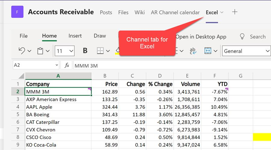 Teams Channel with Excel file as a Tab