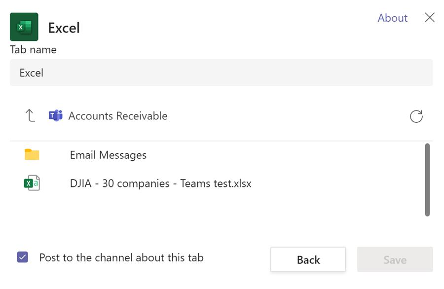 Add Excel as a tab in Teams channel