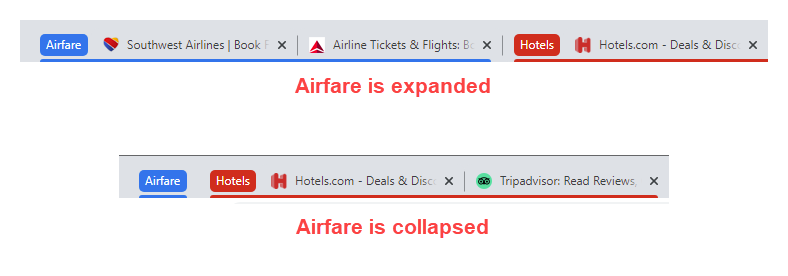 Expand and collapse a tab group - chrome