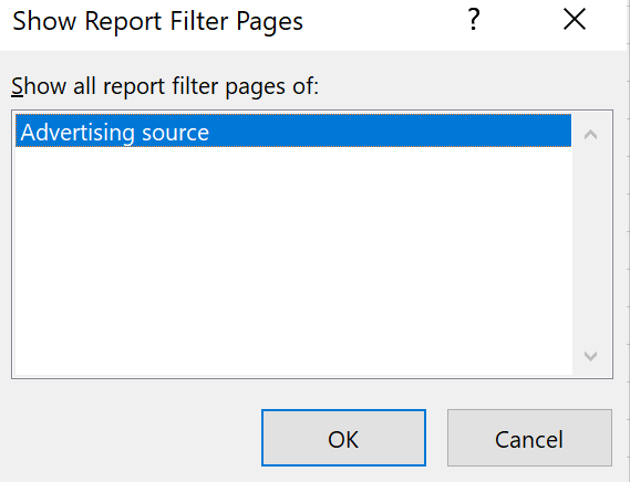Show all report filter pages of: