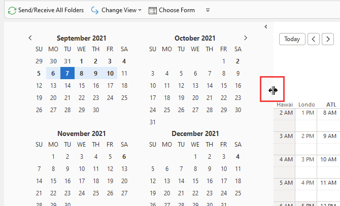 View multiple months in Outlook calendar