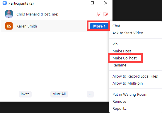 Make someone a co-host with the participant panel in Zoom