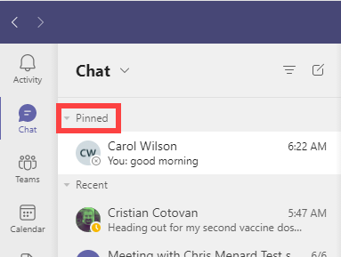 Pinned chats in Teams