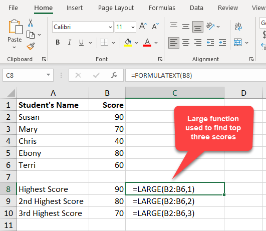 Large function used to find top 3 highest scores